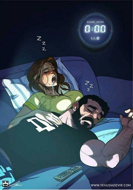 13 Illustrationen über das Familienleben eines lustigen Paares.