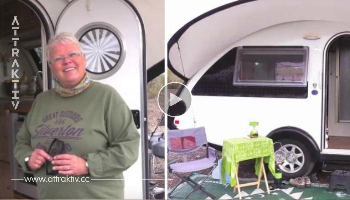 Die Pensionistin lebt in einem kleinen Wohnwagen – warte, bis du das Innere siehst!