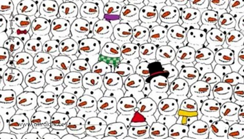 Niemand in meiner Familie hat es hinbekommen: Siehst du den Panda zwischen all den Schneemännern?