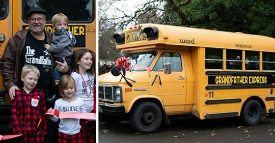 Großvater kauft Schulbus, um seine 10 Enkelkinder täglich zur Schule zu fahren