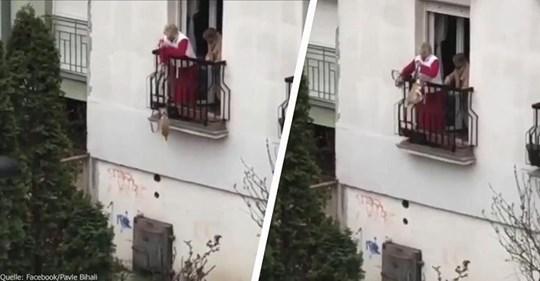 Rentnerin greift zu fragwürdiger Methode: Hängender Gassigang aus dem ersten Stock