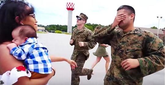 Ein Marinesoldat sieht seinen neugeborenen Sohn zum ersten Mal und bricht schluchzend zusammen, bevor er ihn erreicht