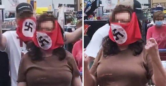Hakenkreuz Maske beim Einkaufen – Paar schockt USA mit wirrem Protest