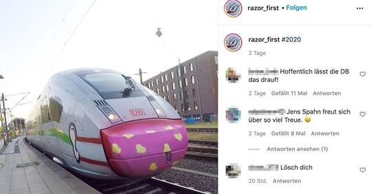 Graffiti-Künstler sprüht Maske auf ICE – und sogar die Deutsche Bahn ist begeistert