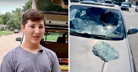 12 jähriger kommt in heißem Auto eingeschlossenen Kleinkind zur Hilfe, indem er die Windschutzscheibe einschlägt