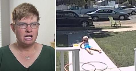 Ein kleines Mädchen kommt ins Haus und erschrickt ihre Mutter, nachdem sie von einem Mann da draußen erzählt