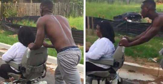 Ein Fremder bringt eine behinderte Frau nach Hause, deren Rollstuhl kaputt gegangen ist: Niemand hatte innegehalten, um ihr zu helfen