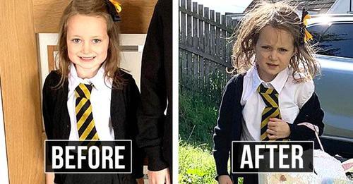 Vor und nach dem ersten Schultag: 20 lustige Fotos von Kindern an ihrem ersten Tag