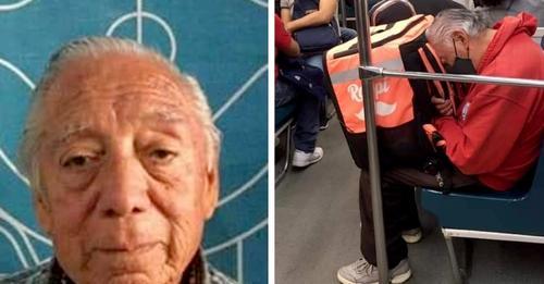 85-Jähriger, der gezwungen ist, für seinen Lebensunterhalt zu liefern: fotografiert, wie er vor Erschöpfung einschläft